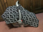Carseat Canopy Infant Carseat Cover black white geometric pattern gray minky lin
