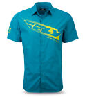 Fly Racing Casual Men's Pit Shirt Teal Lime Slim Fit Short Sleeve Shirt