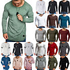Mens Casual Tee Long Sleeve T-shirt Formal Fitted Soft Sporty Blouse Basic Tops image