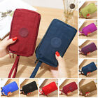 Women Solid 3 Layer Canvas Coin Purse Card Zipper Wallet Holder Phone Bag Gift image