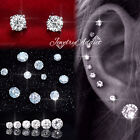 18k Gold Gf Mens Womens 3mm-10mm Ct Diamond Stud Earrings Ear Cartilage Piercing