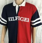 Tommy Hilfiger Polo Shirt Rugby Color Block Spell Out Retro 90s Flag Men Sz XL