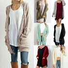 Women's Cardigan Long Sleeve Open Front Draped Sweater Rib Banded With Pockets
