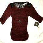 IZ BYER Top Maroon W/ Black Lace, Necklace & Pendent NWT Size Medium