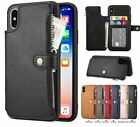 Retro Zipper Case For iPhone 6S 7 8 X XS MAX XR Leather Card Wallet Phone Cover