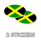 Jamaican Flag Oval Sticker decal Kingston Montego Bay Jamaica 3x5 2 Pack