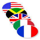 USA - Britain - France - Italy - Jamaica Flag Oval Sticker decal 3x5 5 Pack