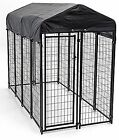 Lucky Dog 4' x 8' x 6' Uptown Dog Welded Wire Kennel With Cover, Wire Mesh