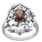 1.88 Ctw Smoky Quartz ,Cubic Zircon Sterling Silver Engagement Ring Size 7 #337