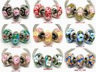 50Pcs Fashion Colorful AB Plated Lampwork Glass Beads fit European Bracelet