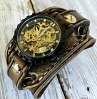 Brown Steampunk Leather Cuff Watch for Men's