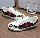 Womens Genuine Flowers Low Top Lace-Up Shoes Leather Sneakers White Shose EU39