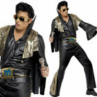 Mens Black Elvis Fancy Dress Costume 1950s 1960s Rock Music Outfit