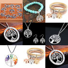 925 Silver Round Tree Of Life Necklace Pendant Earrings Set Jewelry Charm Women