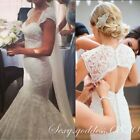 White/Ivory Lace Appliques Mermaid Wedding Dresses Open Back Bridal Gowns Custom
