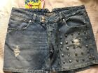 Rock Star (melly) Denim Shorts With Studs Size 30 New With Tags Rrp £95