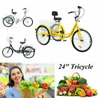 "Adult 7-Speed Adult 24"" 3-Wheel Tricycle Trike Bicycle Bike Cruise With  Basket"