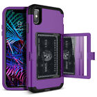 iPhone 6 7 8 Plus X/Xs Max XR Hard Case Rugged Armor Wallet Card Holder Mirror
