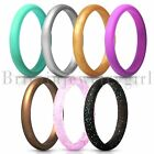7pcs Set Thin and Stackable Silicone Ring Wedding for Women Girls Band Size 4-10