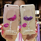Bling Glitter Lip Quicksand goblet Soft Back Phone Dynamic Liquid Case & strap J