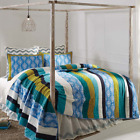 LAGUNA QUILT - choose size and accesories - Striped Sea Blue Print VHC BRANDS image