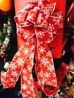 32 L X 8.5 W Red White Snowflakes Wired Christmas Tree Topper Bow Ribbon