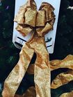 33 Inches Gold Glitter Wired  Tree Topper Bow Ribbon  Door Stair garland Decor