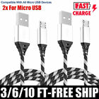 2-Pack Micro USB Charger Fast Charging Cable Cord For Samsung Android LG Phones