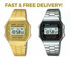 New CASIO Classic Digital Steel Bracelet Watch - A168WA- Unisex - Silver & Gold