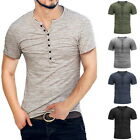 Men's Casual Fashion Slim-Fit Basic Short Sleeve T shirts Henley Shirts Blouse