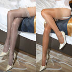 Women Oil Shiny Glossy High Stockings Lace Silicone Stay Up Thigh-Highs Hosi RS