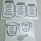Measuring Conversion Decal Set Removable Wall Kitchen Baking Cooking Cups Spoons
