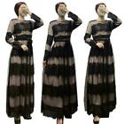 Chic Women Lace Long Maxi Dress Muslim Swing Abaya Evening Party Cocktail New
