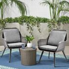 Outdoor Rattan Wicker Patio Furniture Dining Arm Seat Chairs With Cushions Grey