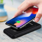 US 20000mah Power Bank Dual USB LCD Battery Qi Wireless Charger For Mobile Phone