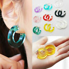 Candy Color Geometric Circle Earrings Transparent C Shape Acrylic Stud Earrings