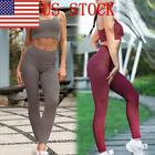 US Women High Waist Yoga Fitness Gym Stretchy Leggings Sport Trousers Suit GIFT