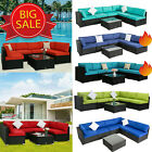 7pc Outdoor Patio Furniture Sofa Set Sectional Couch Wicker Rattan Cushioned