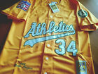 NEW! Yellow Oakland Athletics #34 Rollie Fingers 2patch SEWN cooperstown Jersey on Ebay