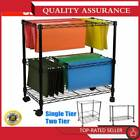 "Single/Two Tier Metal Rolling Mobile File Cart 23.6x12.6/40 x18/27.6"" Office"