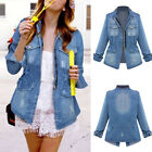 Womens Fashion Denim Jacket Elastic Waist Pocket Large Size Casual Loose Coat