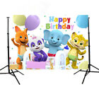 Animals Word Party Children Birthday photography Backdrops Tiger Elephant Banner