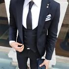 3 Pieces Black Men's Suits Slim Fit Shawl Lapel Groom Tuxedos One Button Custom