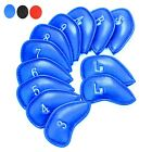 12Pcs Golf Iron Head Covers PU Leather  Velco Club Headcover Protect Set