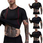 Mens Compression Shirt Short Sleeve Tops For Fitness Workout Sports T-Shirts