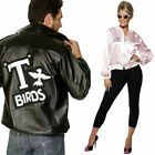 Unisex Couples 1950s Fancy Dress Women Mens Grease Pink Ladies T-Bird Jacket