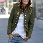 Womens Ladies Open Front Buttons Long Sleeve Military Outwear Blazer Jacket Coat