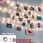 1-50 Photo Window Hanging Peg Clips Led String Lights Home Party Fairy Decor