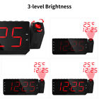 Household Digital Projector Clock LED Dimmable Radio Alarm Snooze Temperature US