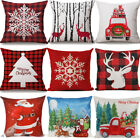 2 Pack Christmas Square Throw Pillow Case Cushion Waist Cover Reindeer Geometric image